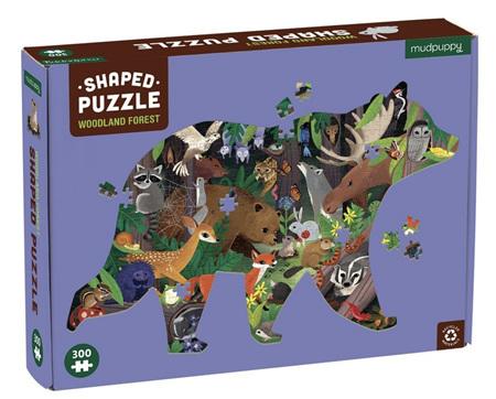 Mudpuppy 300 Piece Shaped Jigsaw Puzzle: Woodland Forest