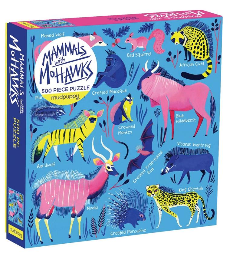 Mudpuppy 500 piece jigsaw puzzle Mammals with Mohawks buy at www.puzzlesnz.co.nz