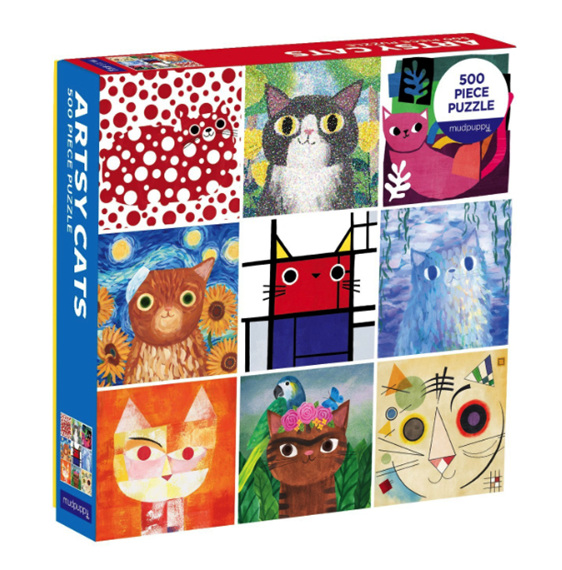 Mudpuppy 500 piece puzzle Artsy Cats available at www.puzzlesnz.co.nz