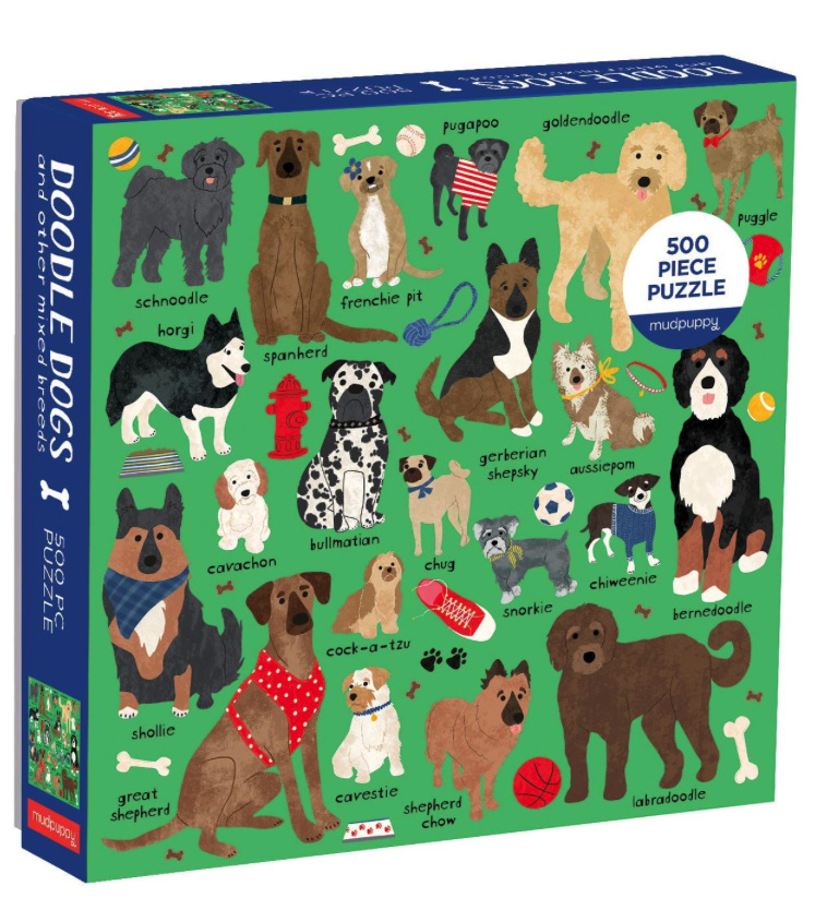 Mudpuppy 500 piece puzzle Doodle Dogs mixed breeds at www.puzzlesnz.co.nz