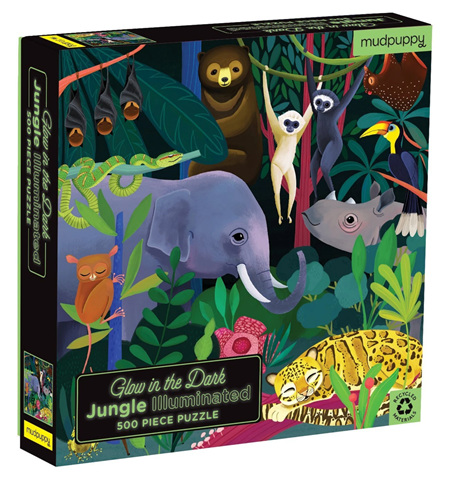 Mudpuppy Jungle Illuminated 500 Piece Glow in the Dark Jigsaw Puzzle
