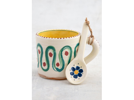 Mug Blue Flower with Spoon