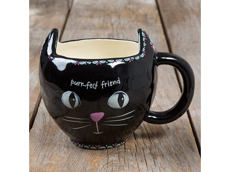 Mug Folk-Cat Purrfect (Black)