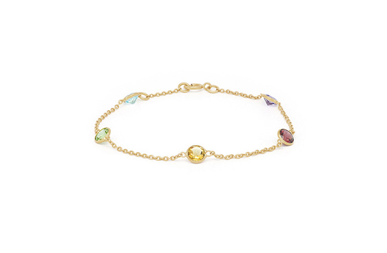 multi coloured gemstone yellow gold chain bracelet