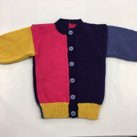 Multi Coloured Pure Wool Knitted Hooded Jacket - 1-2 years