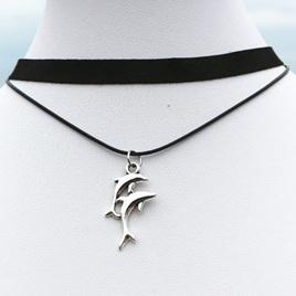 Multi-layer Black Choker Necklace Dolphin Pendant