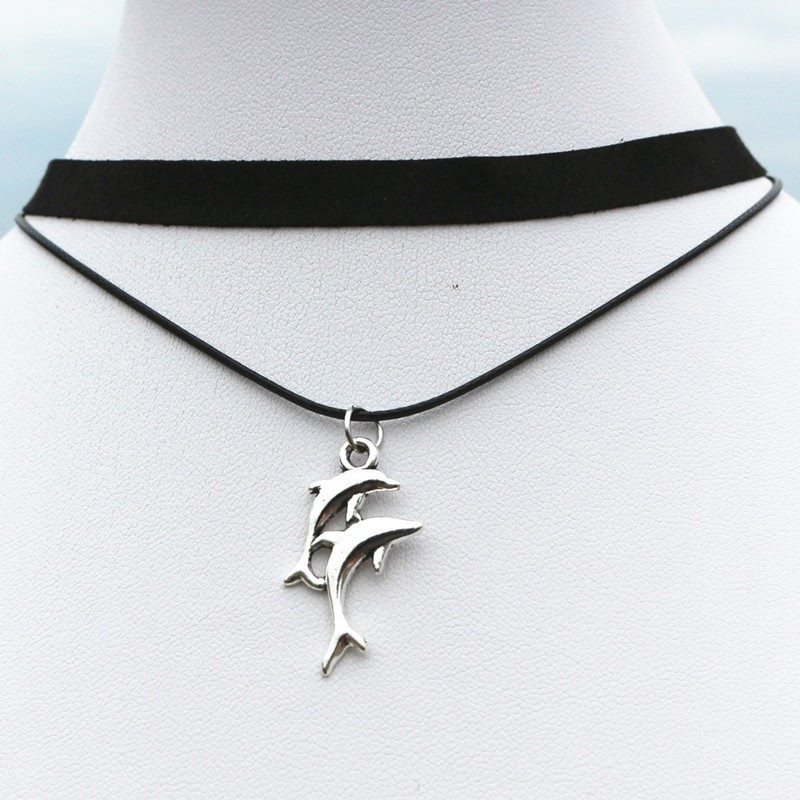 dolphin with pendant jewelry com women silver box sterling chain necklace amazon for dp
