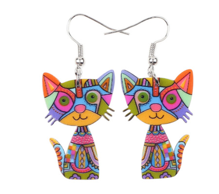 Multicoloured Cat Acrylic Earrings