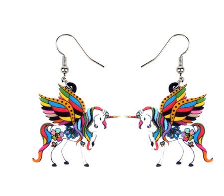 Multicoloured Pegasus Acrylic Earrings