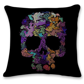MULTICOLOURED SKULL CUSHION COVER