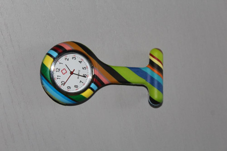 Multicoloured Stripes Nurses Watch