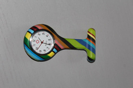 Multicoloured Stripes Nurses Watch