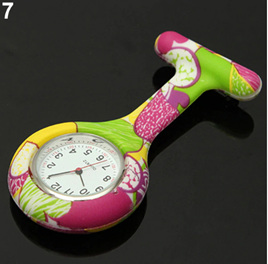 Multicoloured Yellow Purple Green White Silicon Nurse Watch