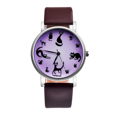 Multiple Cat Lovers Watch  - Brown Strap