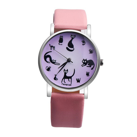 Multiple Cat Lovers Watch  - Pink Strap