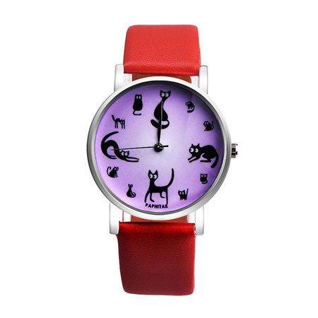 Multiple Cat Lovers Watch  - Red  Strap