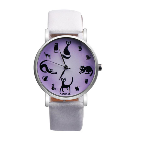 Multiple Cat Lovers Watch  - White  Strap