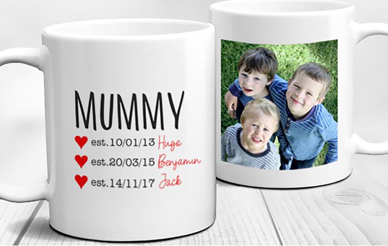 Mum Established, names and years of birth and photo personalised Mug