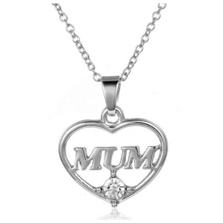 MUM Heart Necklace - SILVER