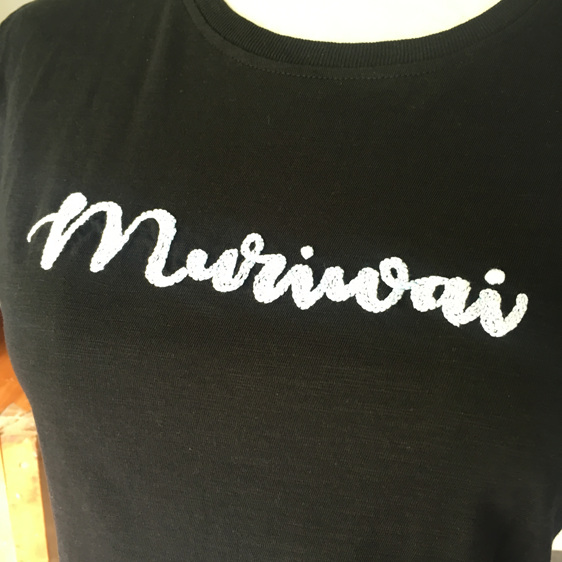 muriwai black hand embroidered tshirt