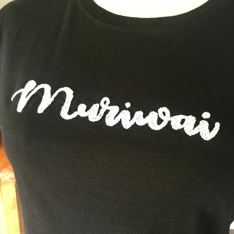 muriwai black hand embroidered tshirt