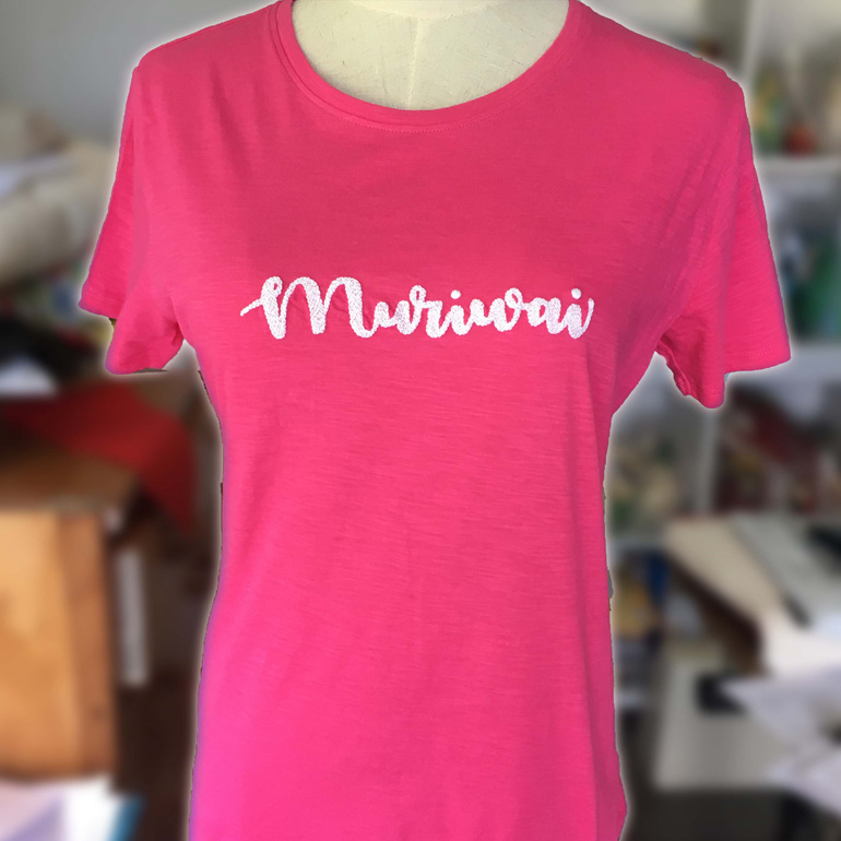 muriwai pink hand embroidered tshirt