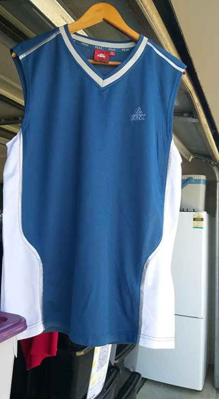 Muscle T Top - White & Blue
