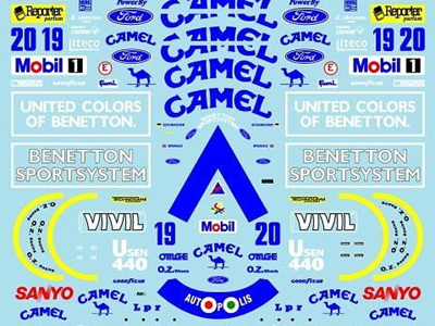Museum Collection 1/20 Benetton B192 Full Decal Set