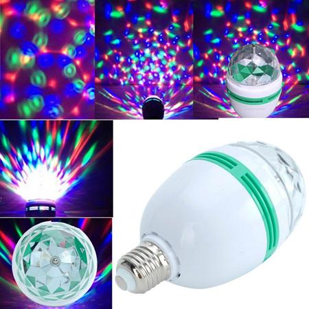 Music Activated E27 or B22  RGB Rotating  LED Disco Light Bulb