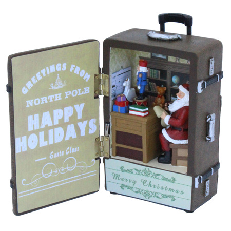 Musical suitcase with Santas workshop inside!