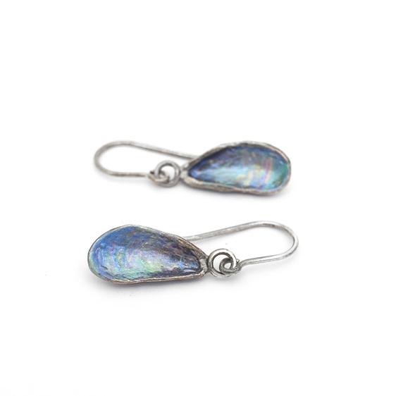 mussel shells oxidised sterling silver blue green pink earrings beach ocean