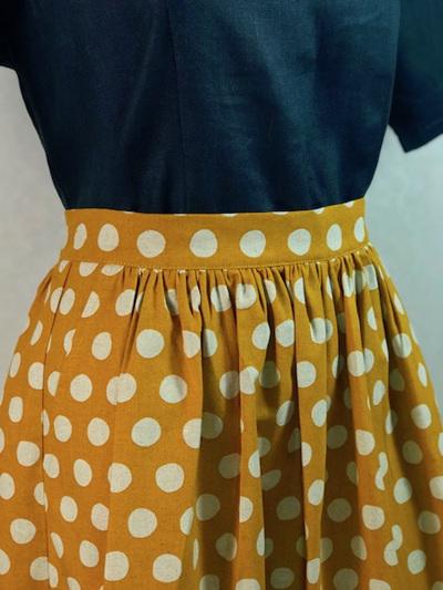 Mustard dots Midi skirt