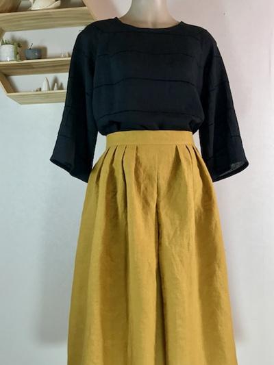Mustard linen pleat midi skirt