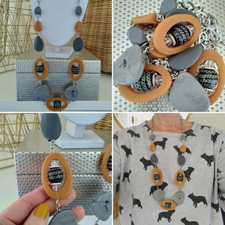 Mustard Window Necklace - black orange bubble beads