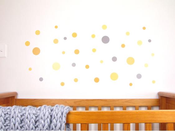 Mustard Yellow dots wall decal