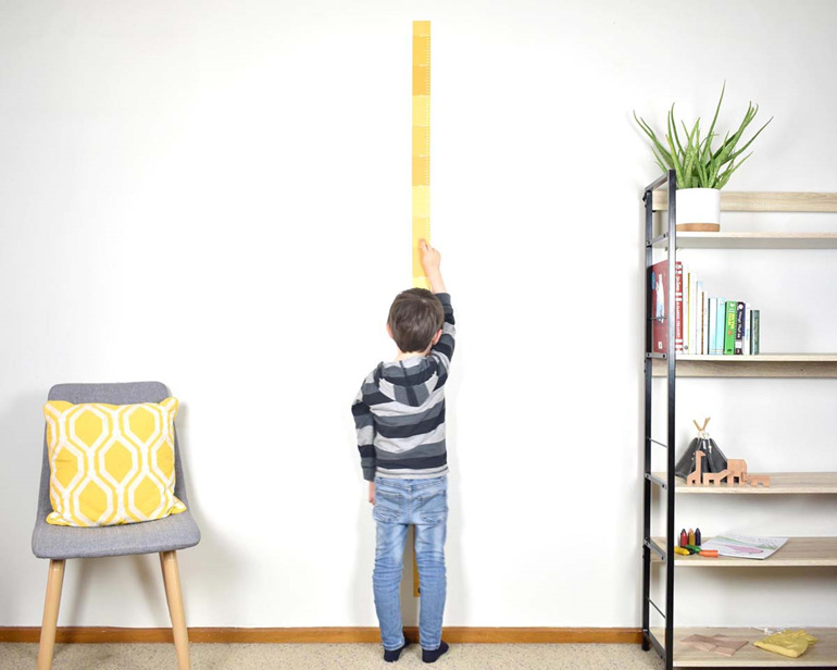 Mustard Yellow skinny height chart wall decal