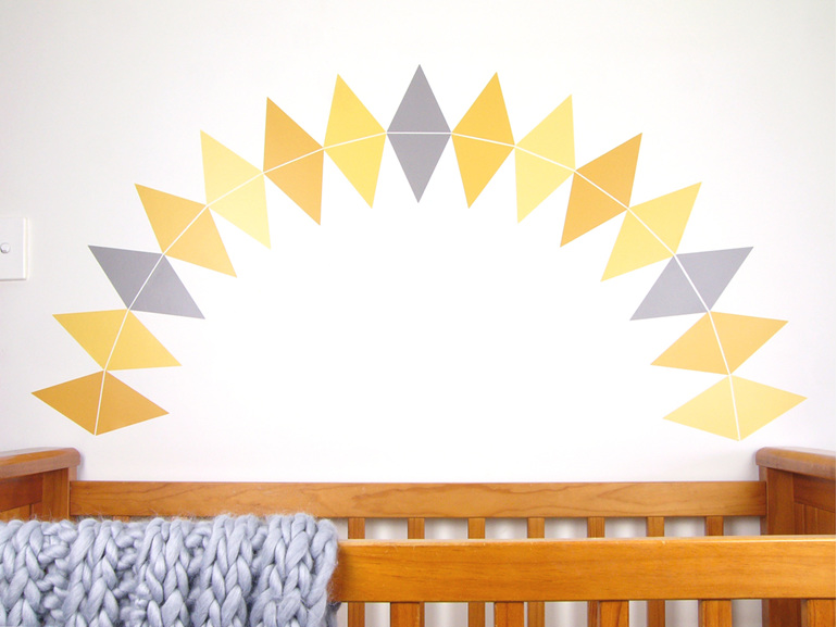 Mustard Yellow triangles wall decal