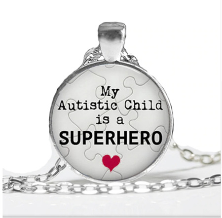 My Autistic Child is a Superhero Necklace - Silver Plated