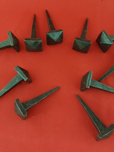 Nail - 1 Packet of 10 Hand Forged Iron Nails - 40 mm Shank with Square Pyramid Head