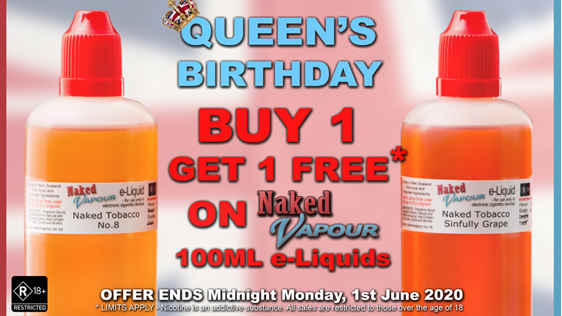 Naked Vapour e-Liquid - 100ml Buy One, get 1 FREE