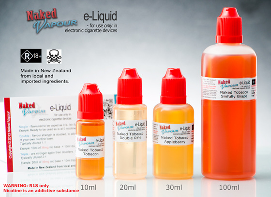 Naked Vapour e-Liquid Bottle Sizes
