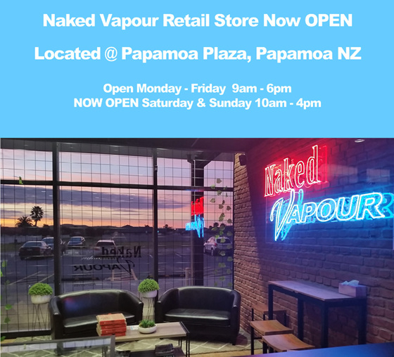 Naked Vapour Shop Hours - May 2019