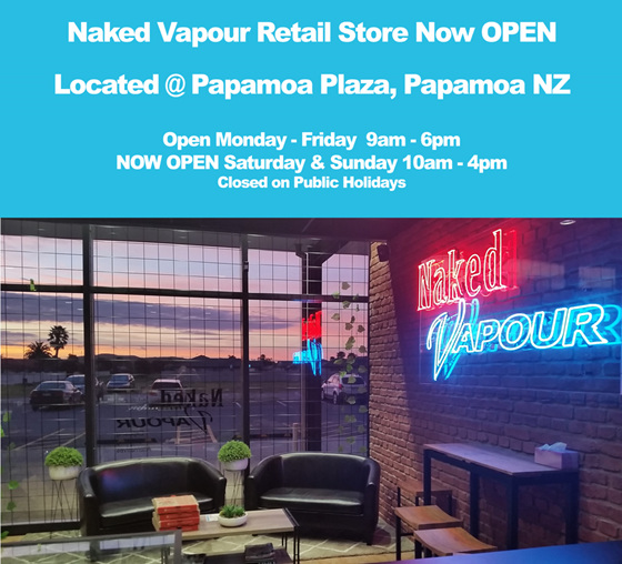 Naked Vapour Shop Hours - October 2018