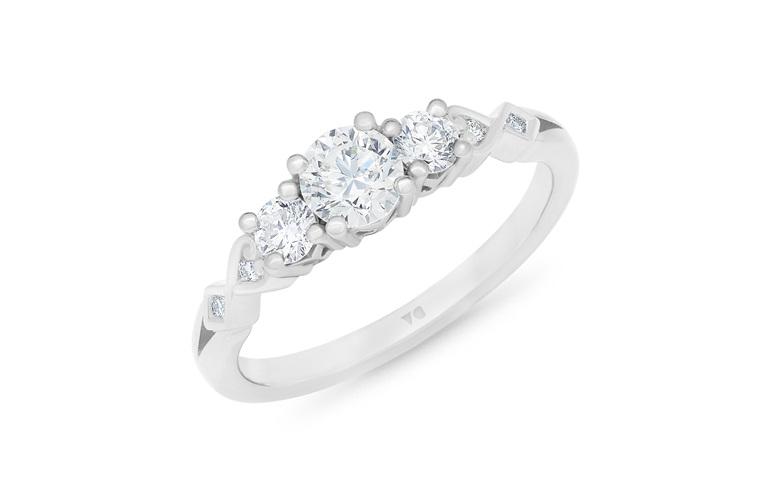 Narrative Baile Three Stone Diamond engagement Ring 18ct white gold platinum