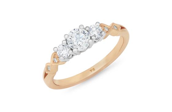 Narrative Baile Three Stone Diamond engagement Ring 18ct rose gold platinum