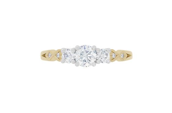 Narrative Baile Three Stone Diamond engagement Ring 18ct yellow gold platinum