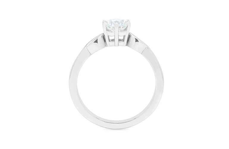 Narrative collection diamond solitaire engagement ring with accent diamonds