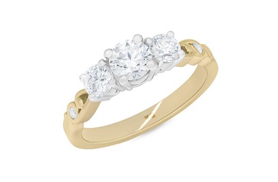 Narrative Furl Three Stone Diamond Ring