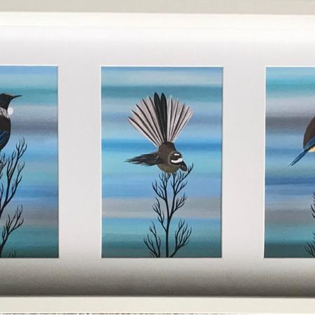 Native Bird Trio Prints in Frame