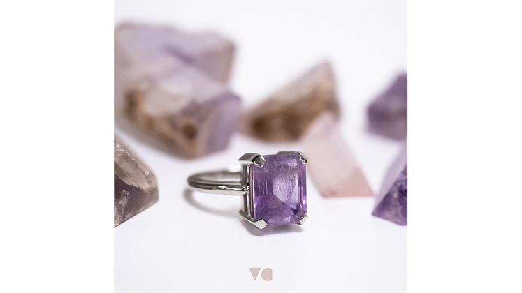 Natural crystal pieces and finished amethyst gemstone ring